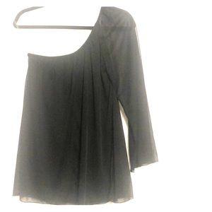 Studio Y Sm One Sleeve Long Sleeve Black Blouse